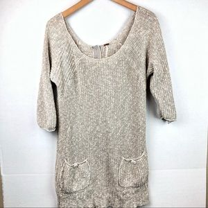 Free People oatmeal sweater with pockets Medium